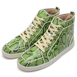 Shoespie Green Lizzard Skin Patterns Men's Sneakers