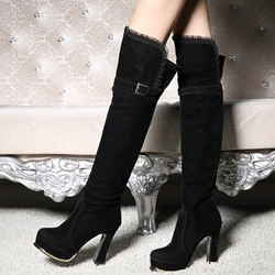 Shoespie Chic Black Round Toe Block Heel Knee High Boots