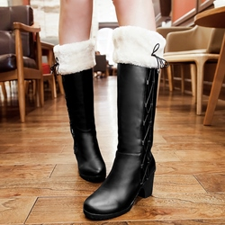 Shoespie Round Toe Side Lace Up Shearling Flat Boots