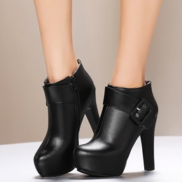 Shoespie Round Toe Buckle Fashion Booties