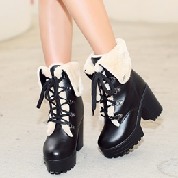 Shoespie Round Toe Furry Snow Boots