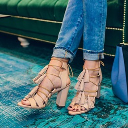 Shoespie Light Apricot Chunky Heel Lace Up Tassels Sandals