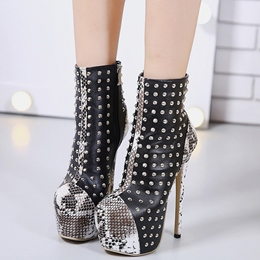 Shoespie Black Rivets Snake Pattern Patchwork Fashion Booties