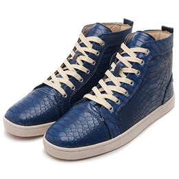 Shoespie Blue Embossed Men's Fashion Sneakers