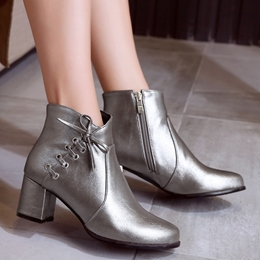 Shoespie Fashion Shine Leather Side Lace Up Booties