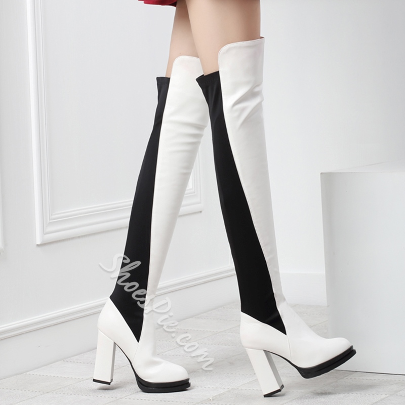 Shoespie Chic Contrast Color Block Heel Thigh High Boots Shoespie