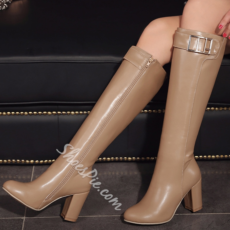 Shoespie Round Toe Giant Buckle Block Heel Knee High Boots