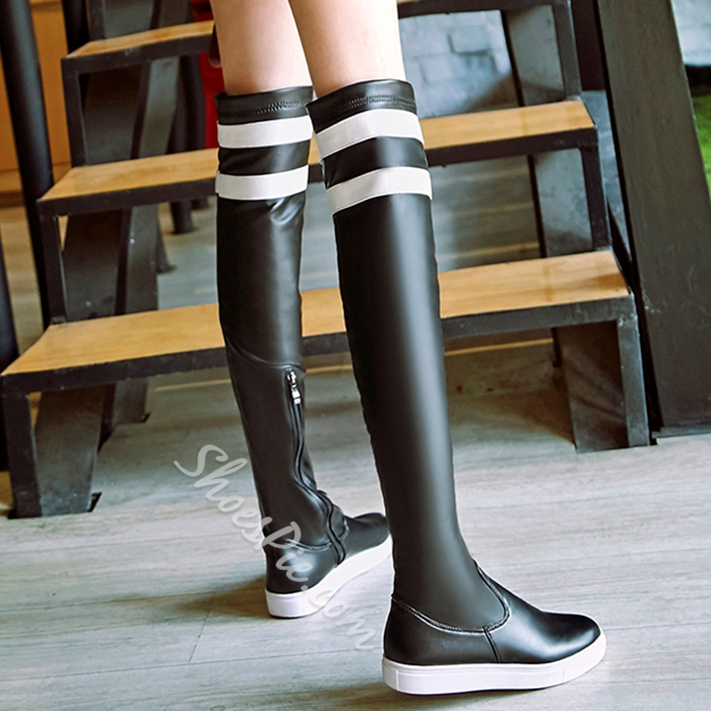 Shoespie Black Stripes Flat Boots