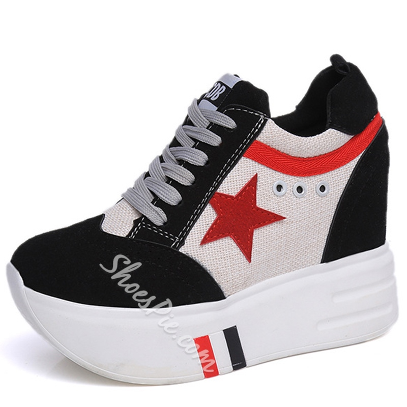 Shoespie Color Block Star Print Sneakers