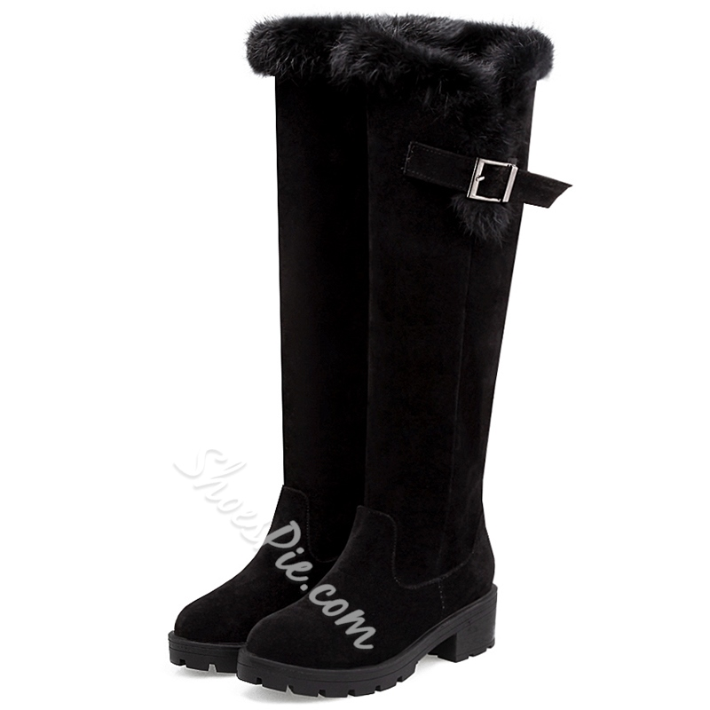 Shoespie Round Toe Furry Flat Snow Boots