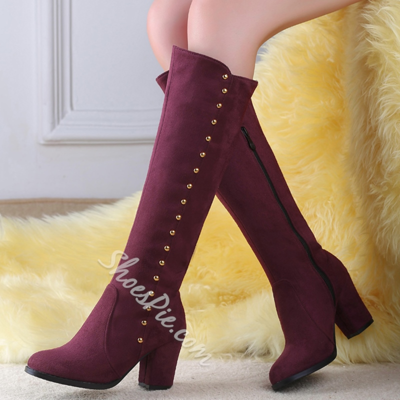 Shoespie Side Rivets Block Heel Knee High Boots