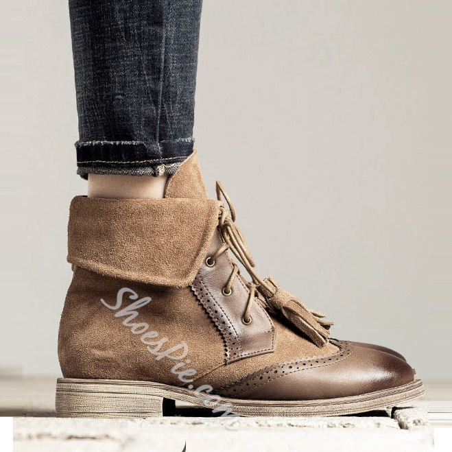 Shoespie Contrast Materials Lace up Martin Boots