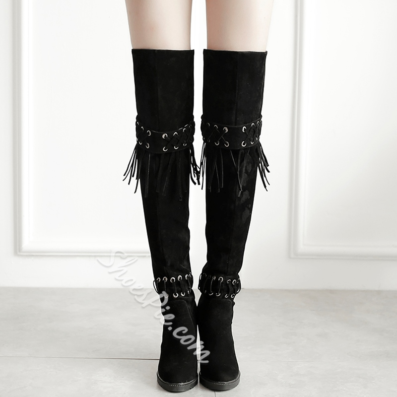 Shoespie Simply Fringe Deco Chunky Heel Knee High Boots