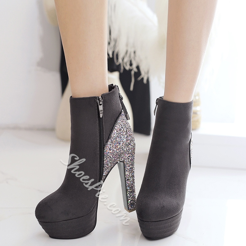 Shoespie Suede-like Round Toe Platform Ankle Boots