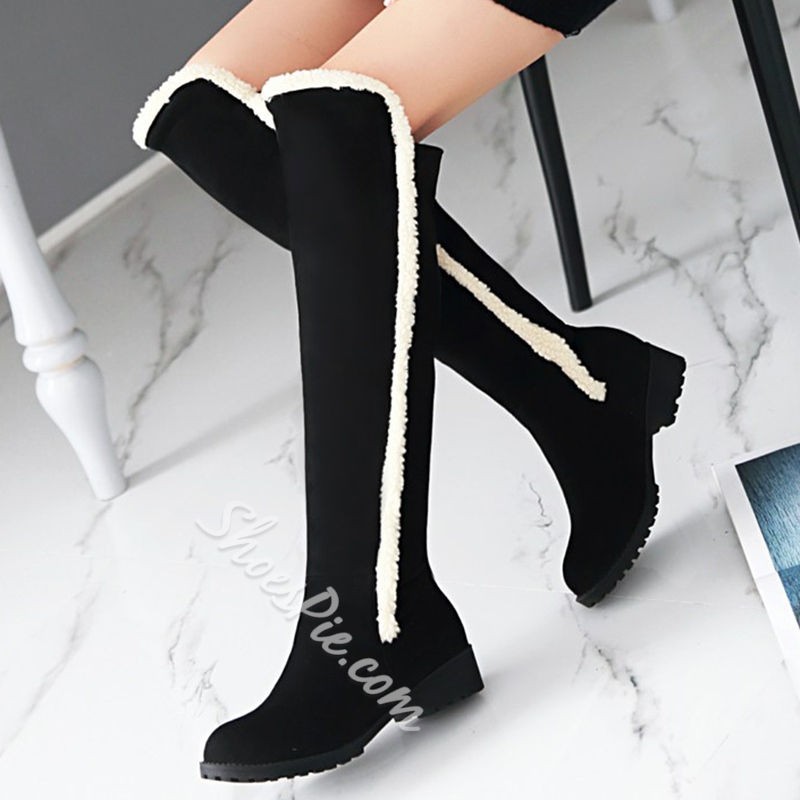 Shoespie Round Toe Patchwork Flat Snow Boots