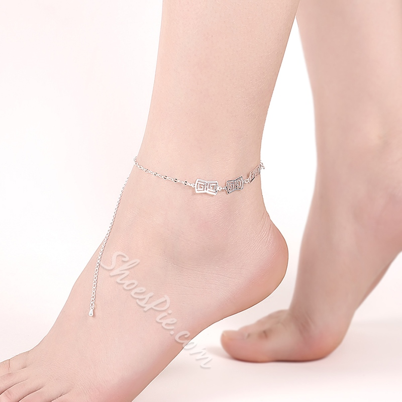 Shoespie Sliver Geometric Shapes Anklet