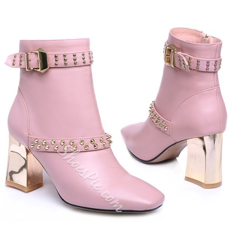 Shoespie Rectangular Toe Ankle Rivets Block Heel Ankle Boots
