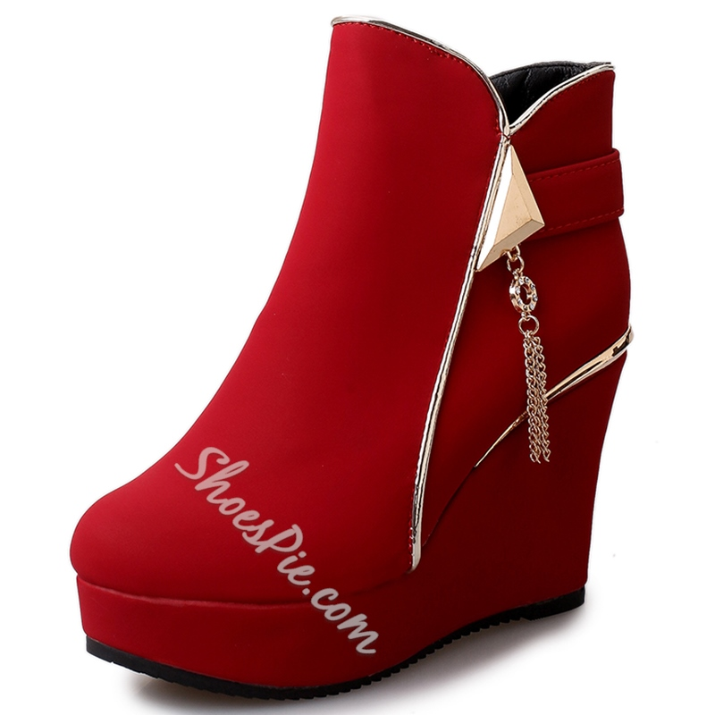 Shoespie Side Zipper Wedge Heel Ankle Boots