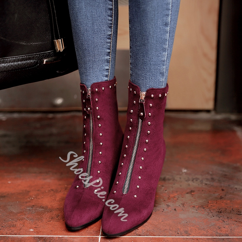 Shoespie Front Zipper Rivets Fashion Booties