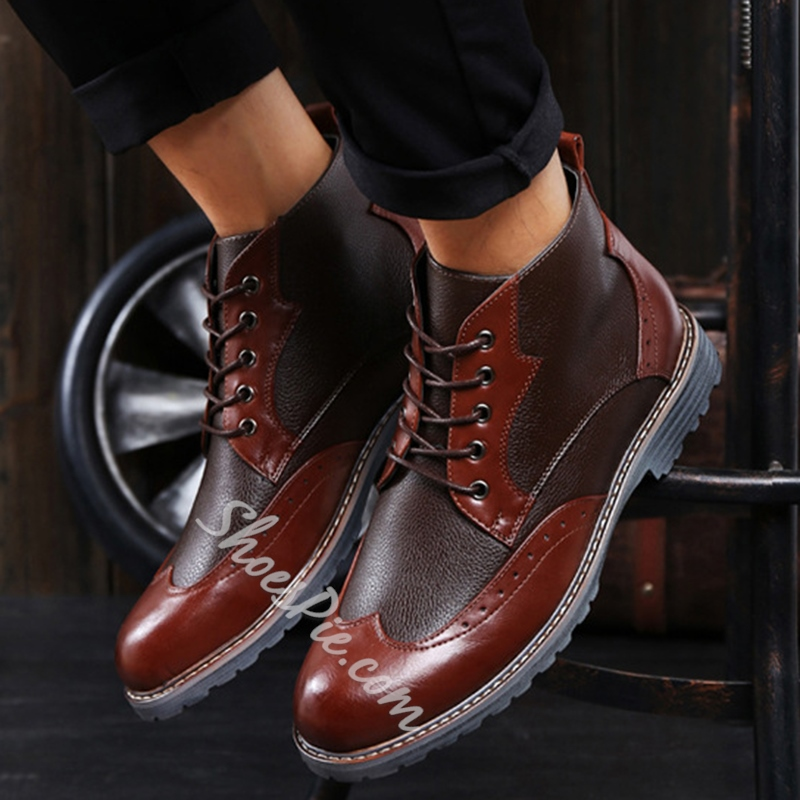 Shoespie Lace-Up Patchwork Men's Boots