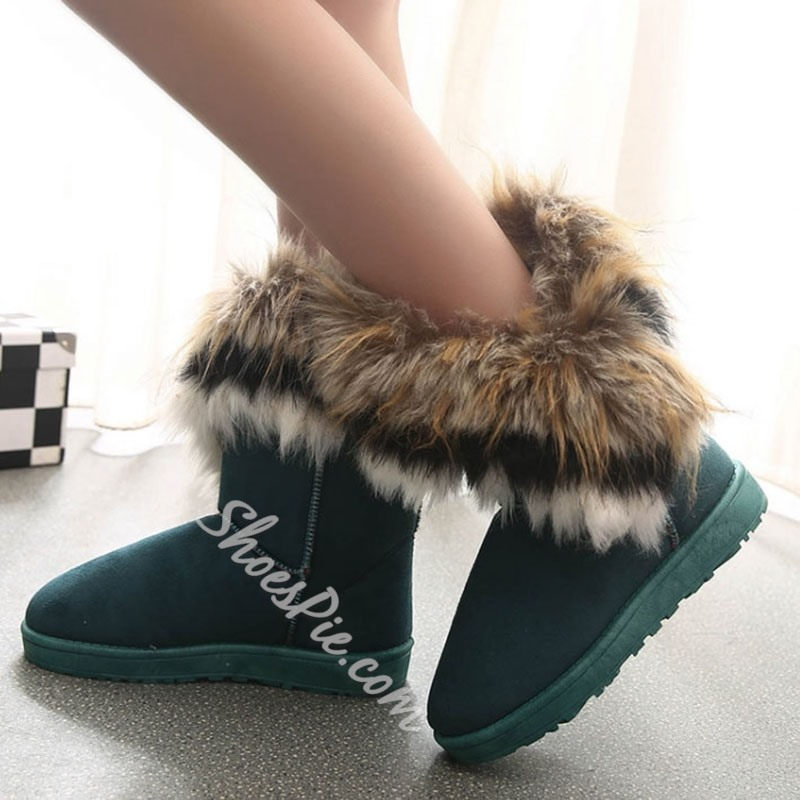 Comfortable Fake Furry Flat Heel Women Snow Boots