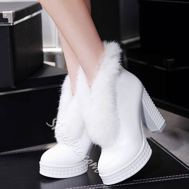 Shoespie Solid Color Furry Chunky Heel Snow Boots