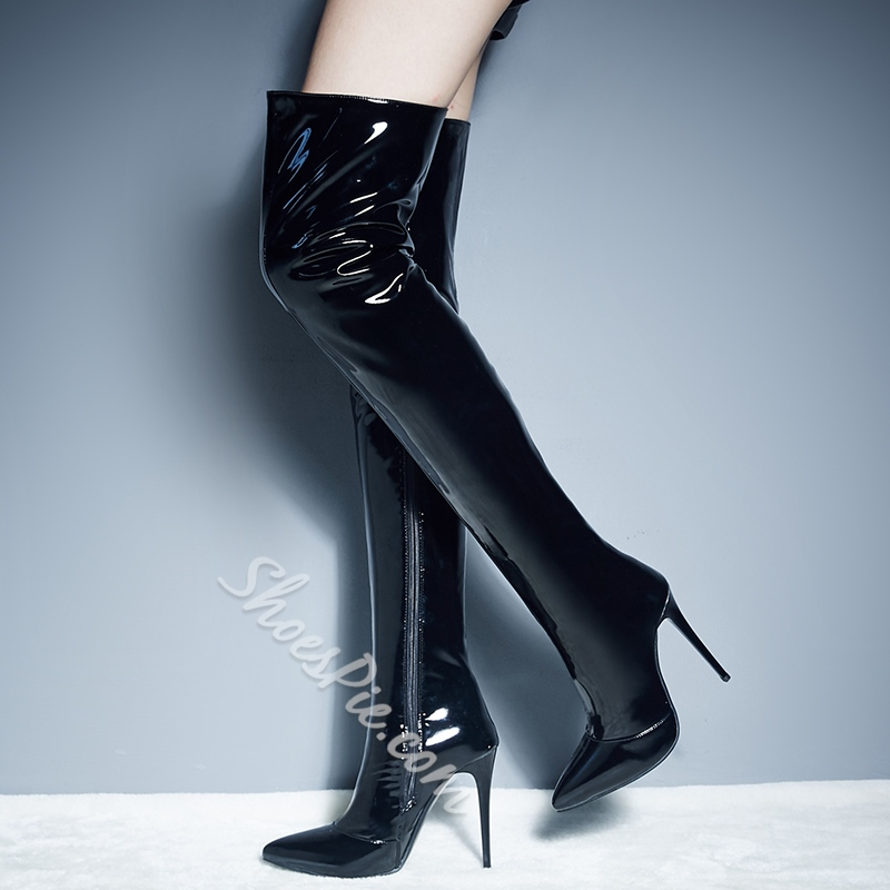 7344fc7578fb Shoespie Side Zipper Pointed Toe Stiletto Heel Riding Knee High Boots-  Shoespie.com