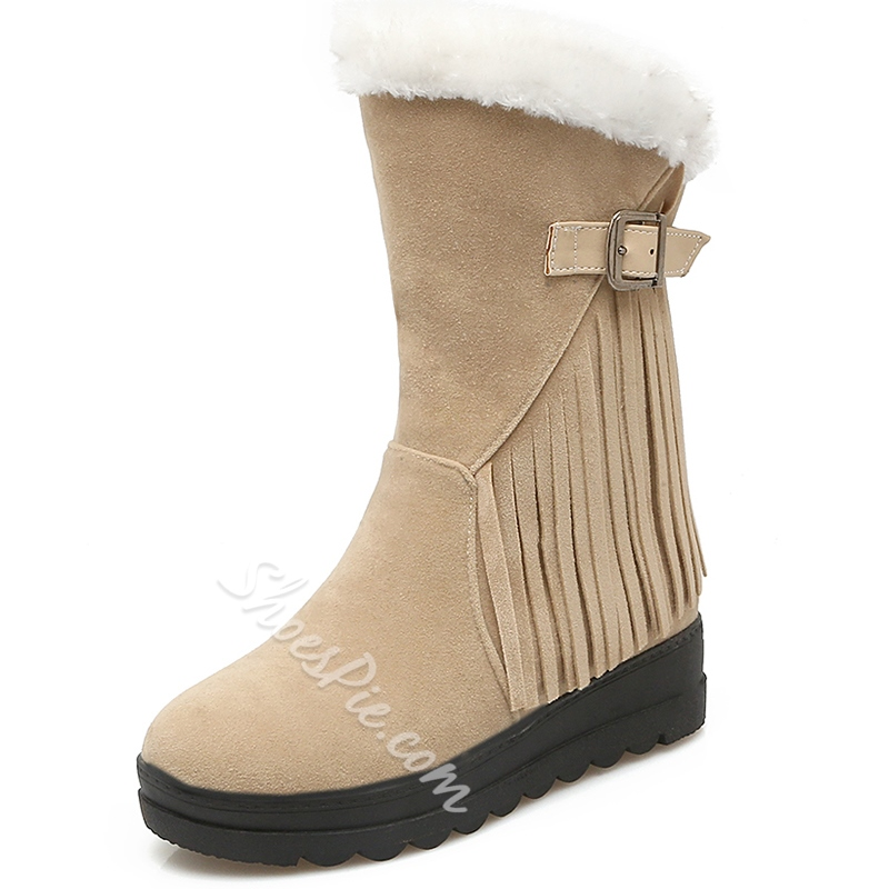 Shoespie Furry Ankle Buckle Snow Boots