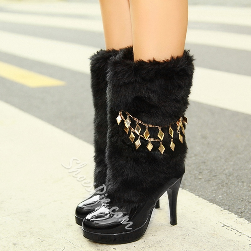 Shoespie Warm Furry Round Toe Ankle Boots