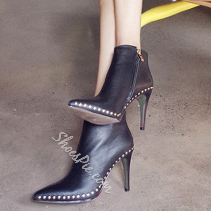 Shoespie Solid Color Rivets Fashion Booties