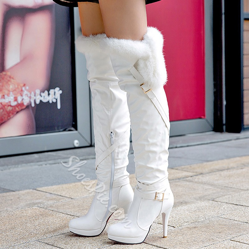 Shoespie Shearling Stiletto Heel Thigh High Boots