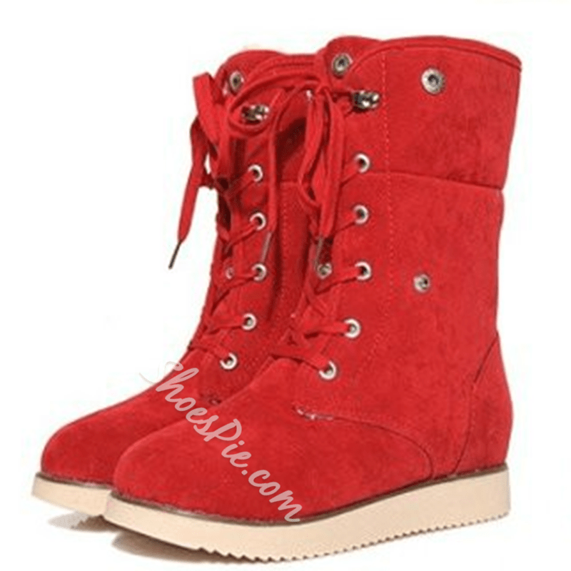 Shoespie Warm Nubuck Lace up Snow Boots