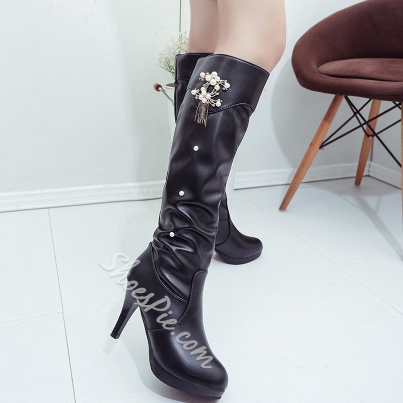 Shoespie Round Toe Rhinestone Low Heel Cheap Boots