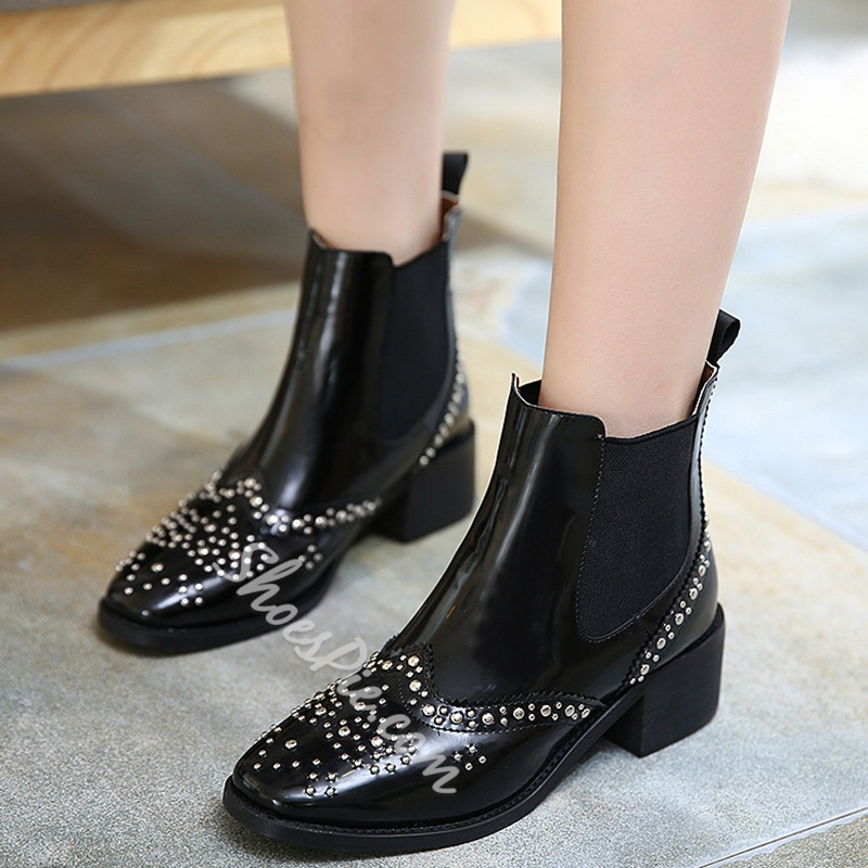 Shoespie Hard Patent Leather Rivets Fashion Booties