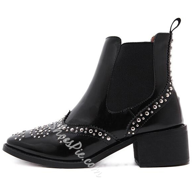 Shoespie Hard Patent Rivets Fashion Booties