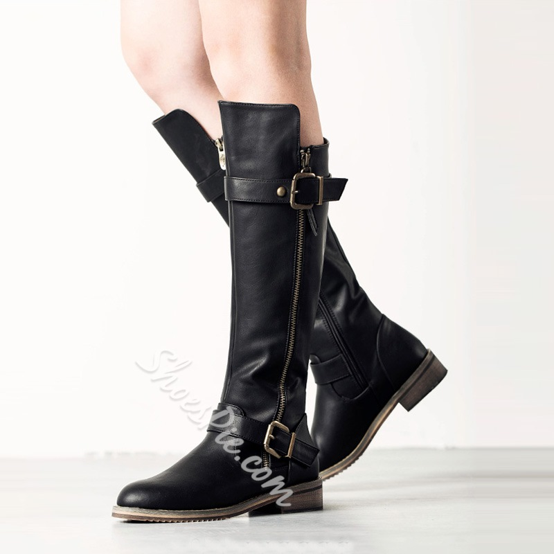 Shoespie Retro Side Zipper Knee High Boots