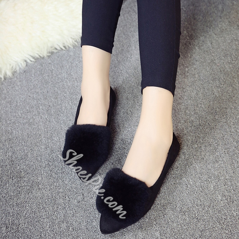 Shoespie Furry Appliqued Pointed Toe Loafers