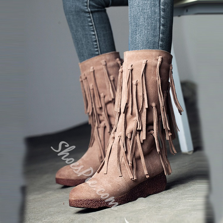 Shoespie Retro Tassels Side Zipper Mid calf Boots