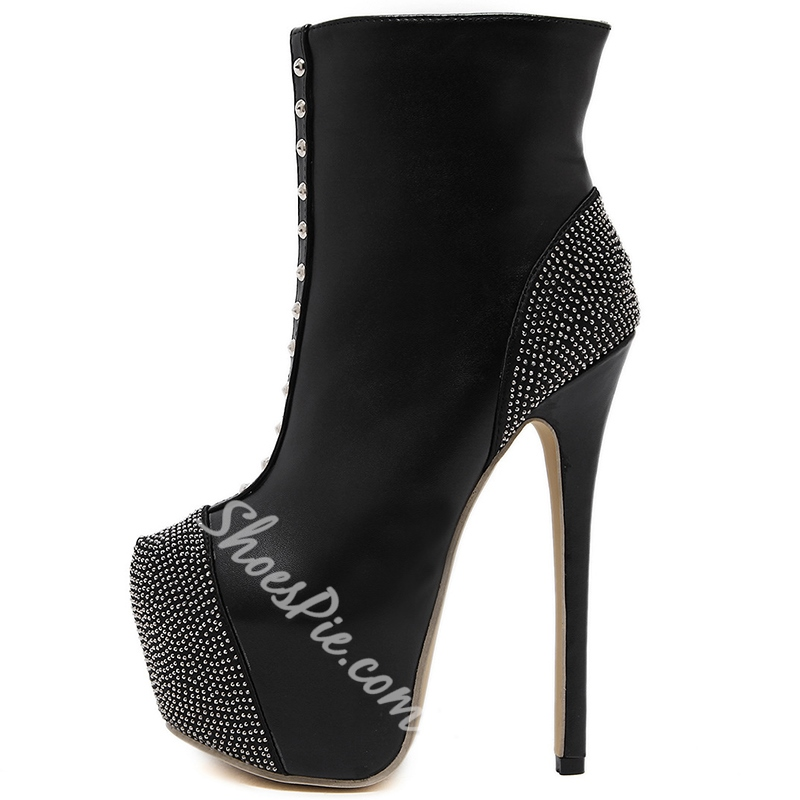 Shoespie Black Rivets Sky High Ankle Boots