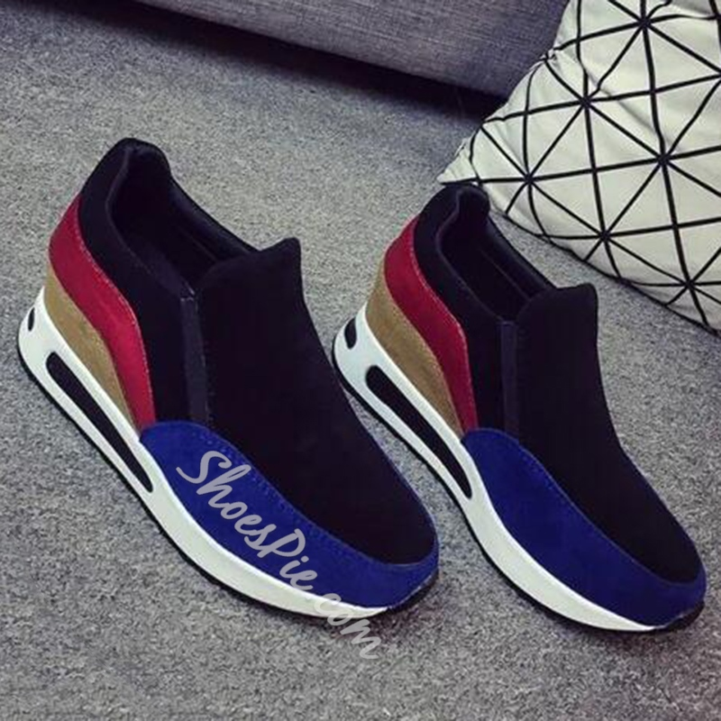 Shoespie Street Style Round Toe Color Block Sneakers