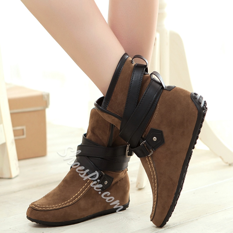 Shoespie Chic Ankle Strap Furry Snow Boots
