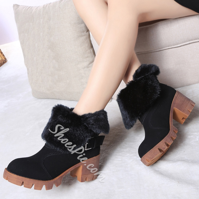 Shoespie Furry Lug Sole Ankle Buckle Snow Boots
