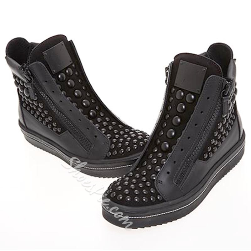 Men's Skate Shoes Rivet Side Zipper Sneakers