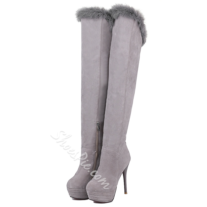 Shoespie Furry Platform Winter Snow Boots