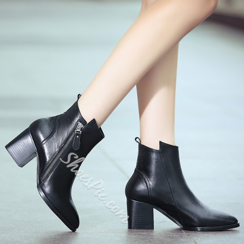 Shoespie Real Leather Block Heel Fashion Boots