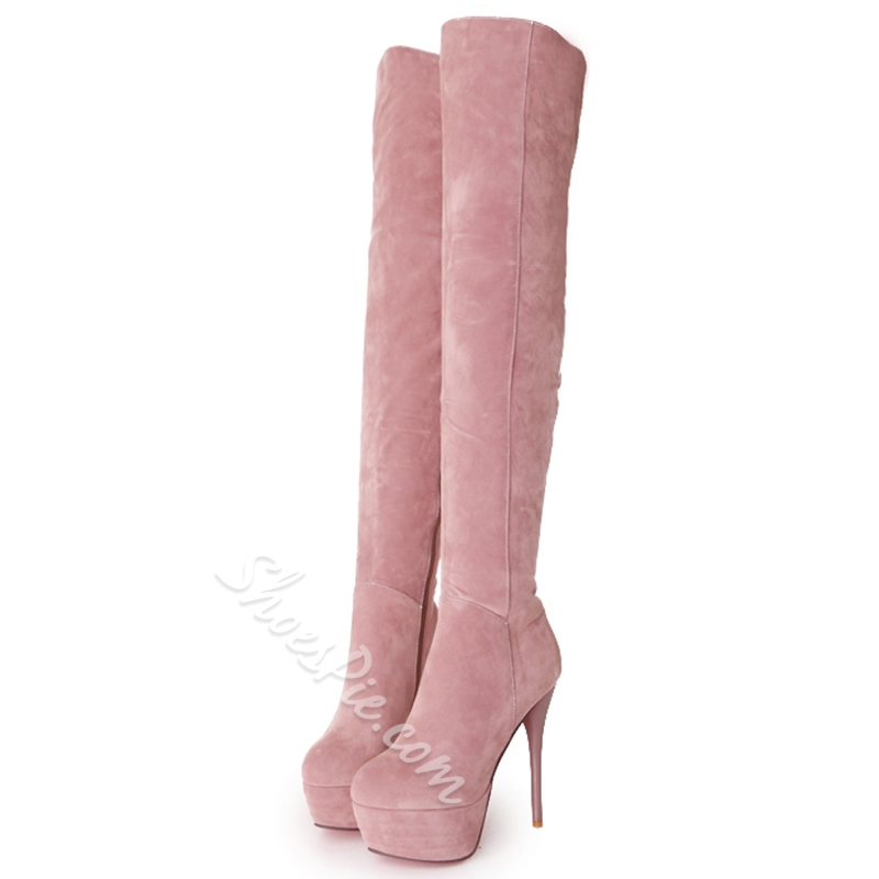 Shoespie Plain Platform Sky High Knee High Boots