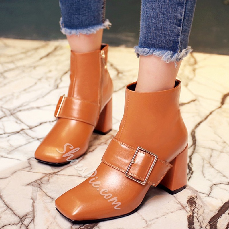 Shoespie Giant Buckles Block Heel Ankle Boots