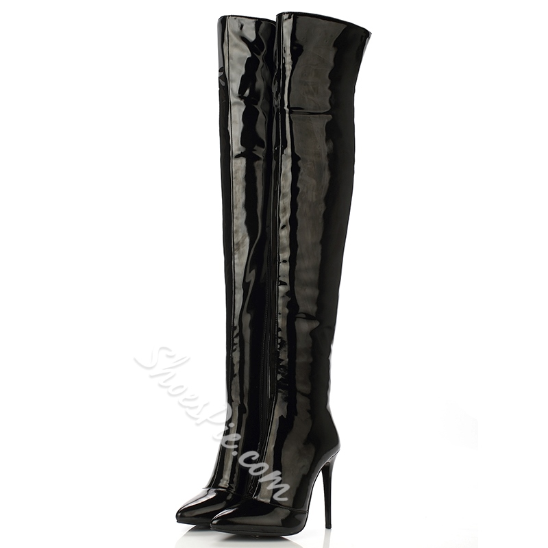 Shoespie Side Zipper Pointed Toe Stiletto Heel Riding Knee High Boots
