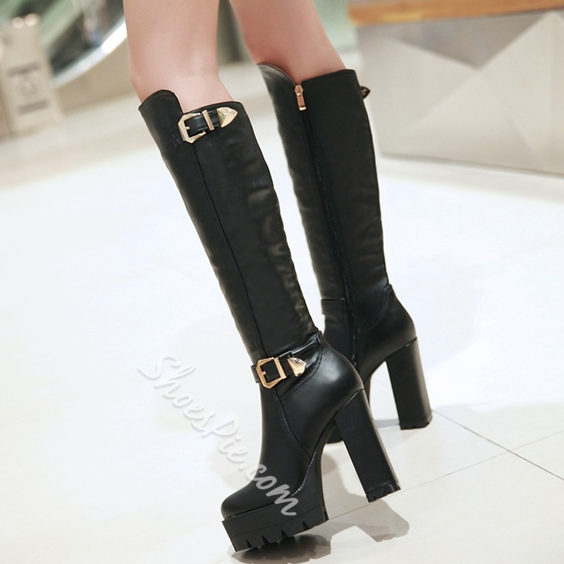 Shoespie Street Style Giant Buckle Knee High Boots