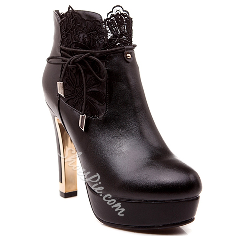Shoespie Round Toe Lace Inset Fashion Booties